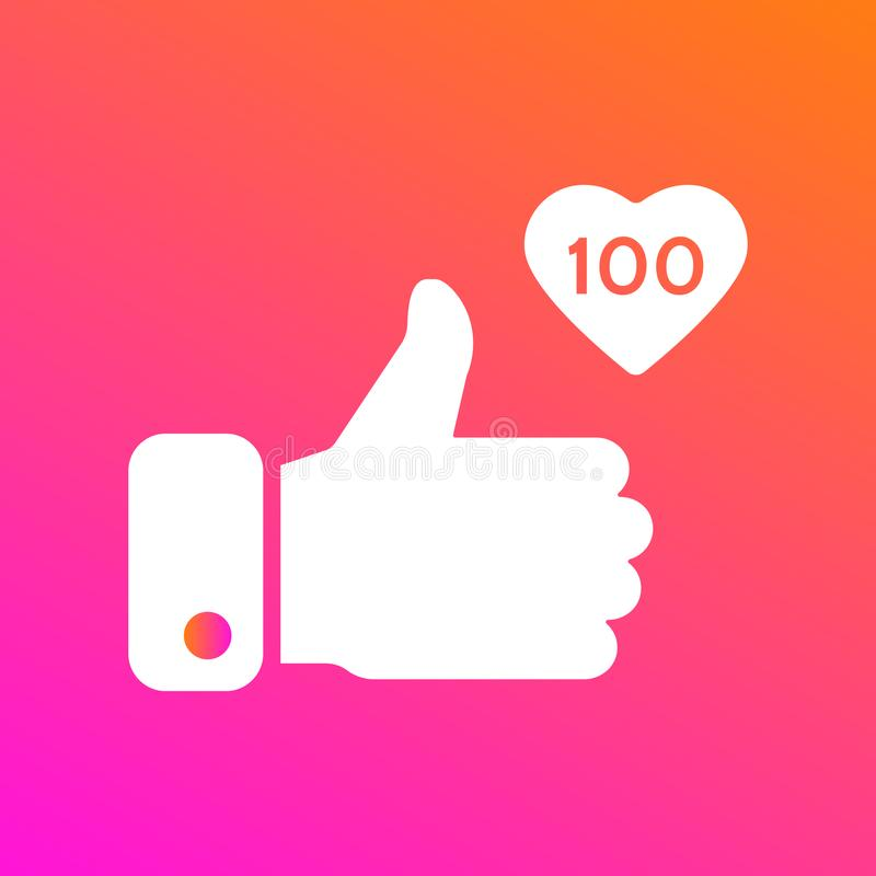 Als, duimen op pictogram op gradiëntachtergrond Pictogram als 100 Sociaal Netwerksymbool Tegenberichtpictogram Sociaal media elem royalty-vrije illustratie