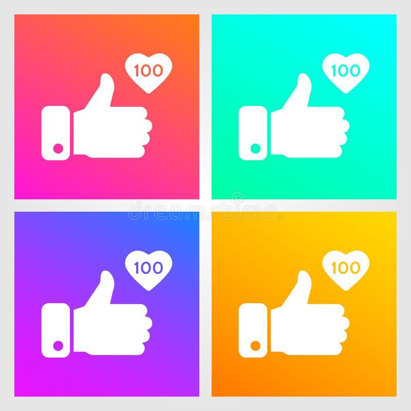 Als, duimen op pictogrammen op gradiëntachtergrond die worden geplaatst Pictogram als 100 Sociaal Netwerksymbool Sociaal media el vector illustratie