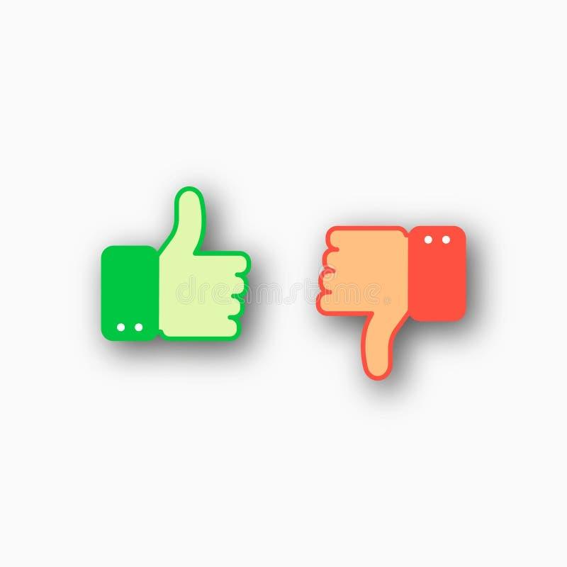 Als en afkeer geplaatste pictogrammen stock illustratie