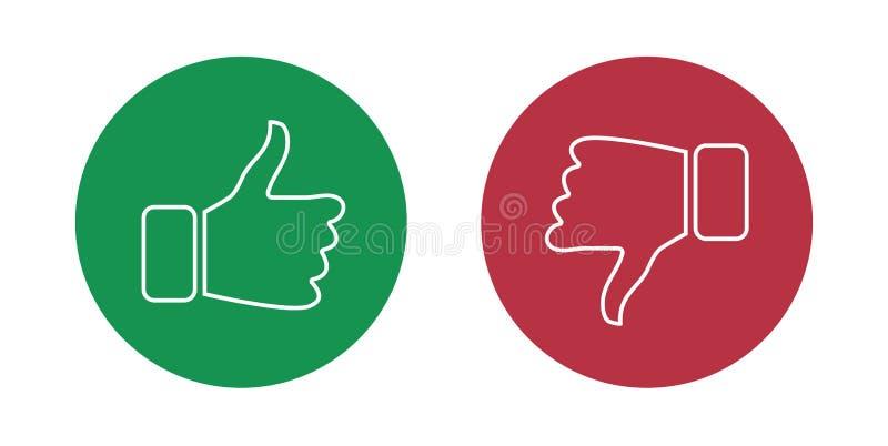 Als en afkeer geplaatste pictogrammen Duimen omhoog en duimen neer Vector illustratie vector illustratie