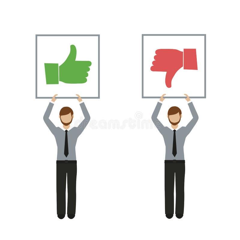 Als en afkeerhanden bedrijfsmensenkarakter stock illustratie