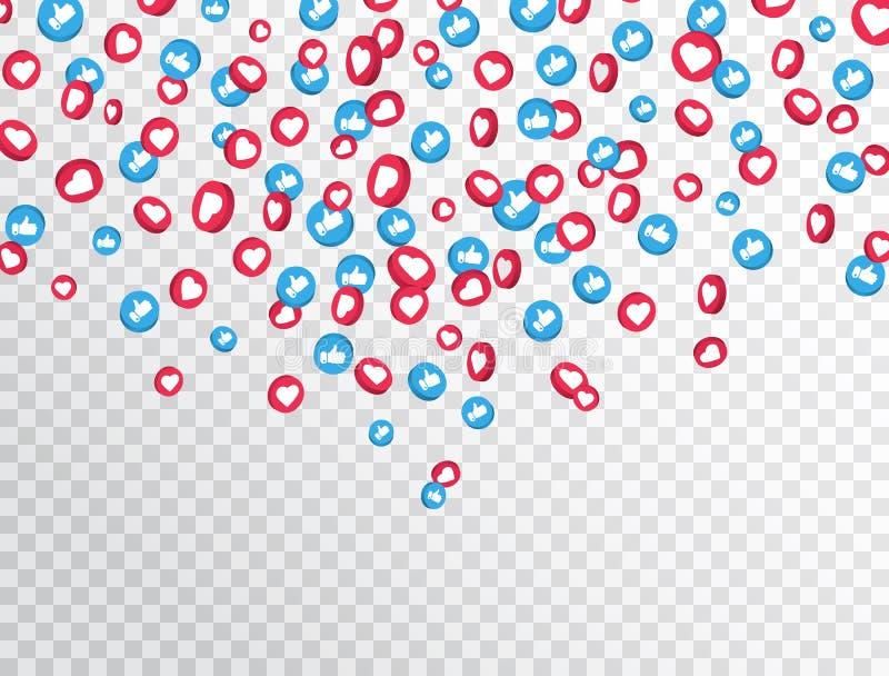 Als en duimen op pictogrammen die op transparante achtergrond vallen 3d sociaal netwerksymbool Tegenberichtpictogrammen sociaal vector illustratie