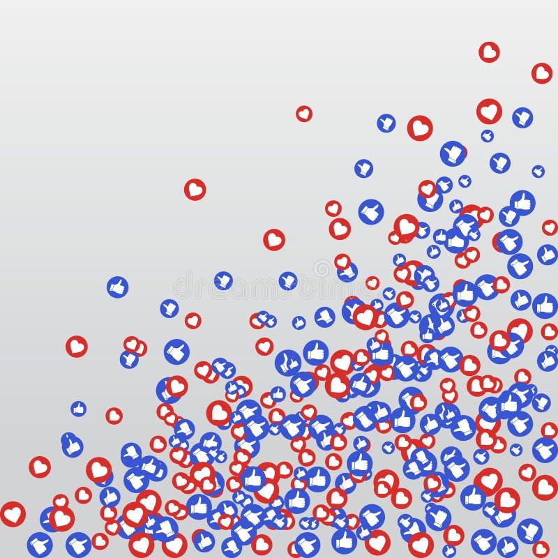 Als en het hart pictogrammen voor levend stroom videopraatje houdt van achtergrond vectorontwerpmalplaatje Sociale netten blauwe  royalty-vrije illustratie