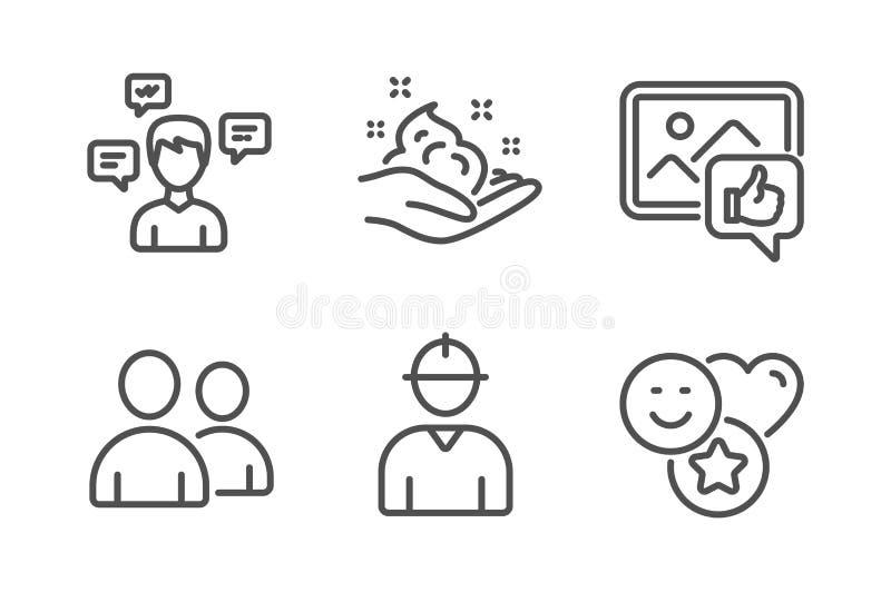 Als foto, van het Huidzorg en Gesprek geplaatste berichtenpictogrammen Gebruikers, Ingenieurs en Glimlachtekens Vector royalty-vrije illustratie