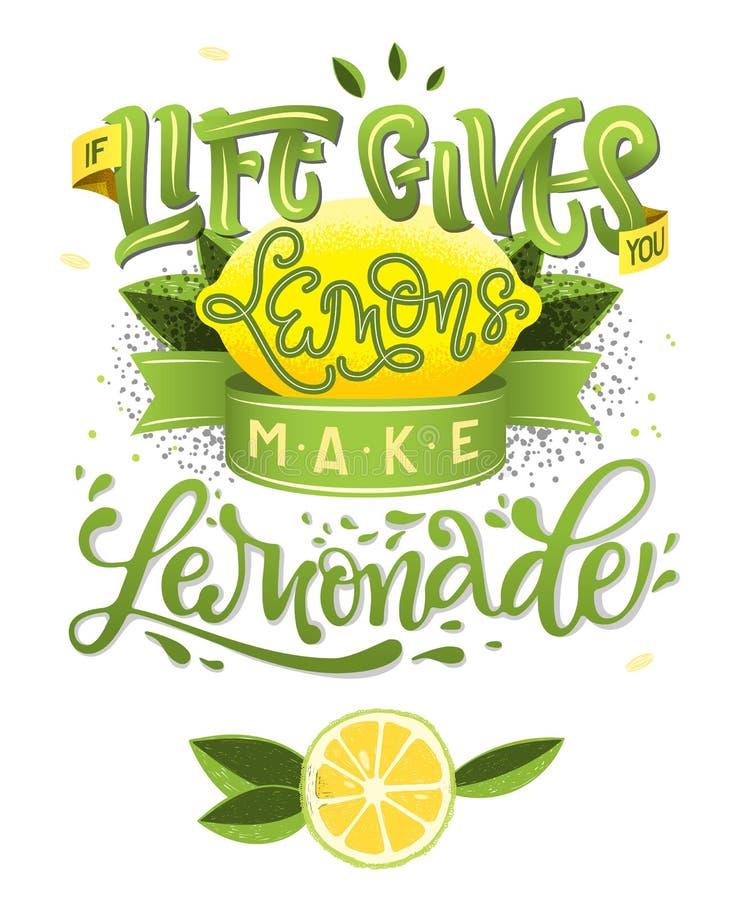 Als het Leven u geeft maken de Citroenen Limonade - kalligrafie de illustratie motieven citeert vector illustratie