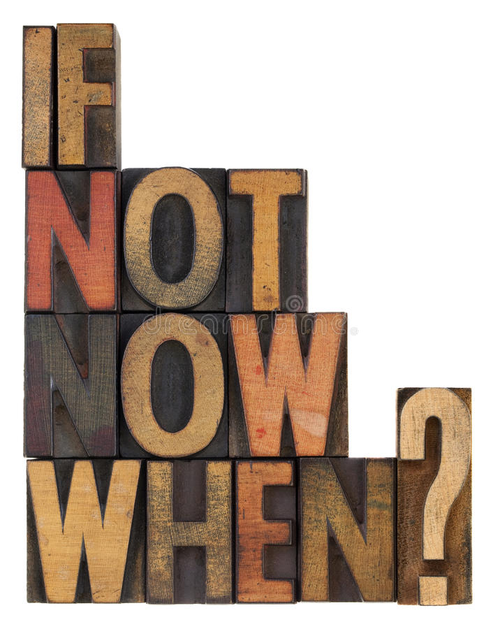 Als niet nu, wanneer - vraag stock afbeeldingen