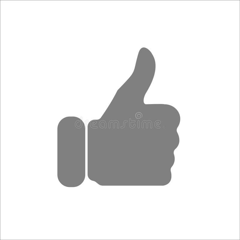 Als pictogram die duim tonen omhoog witte achtergrond vector illustratie