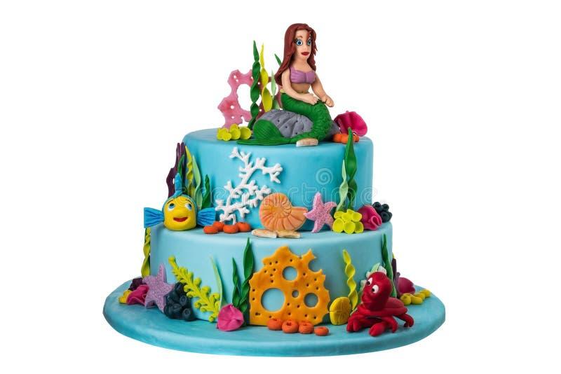 Als thema gehade cake op het overzees van suikerdeeg, meermin royalty-vrije stock afbeeldingen