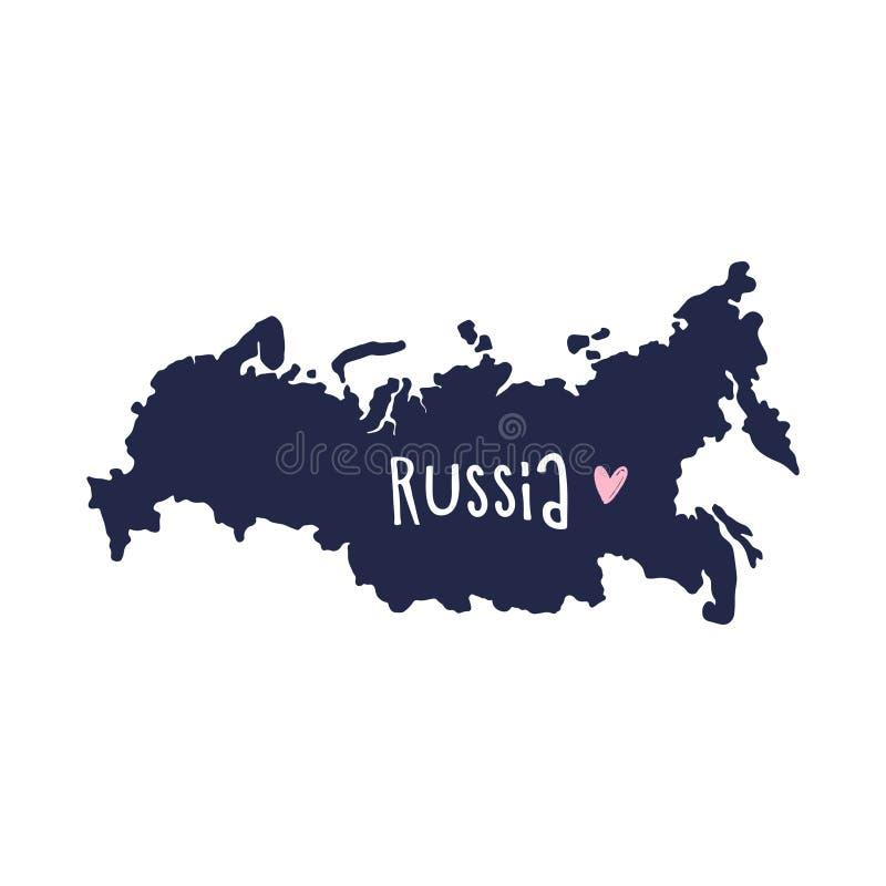 Als thema hebben de hand getrokken modieuze krabbelkaart van Rusland, de ecologie en het milieubehoud, met liefde stock illustratie