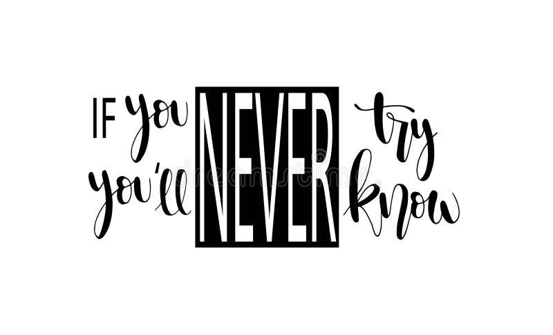 Als u nooit probeert zult u nooit het weten Inspirational hand het van letters voorzien citaten royalty-vrije illustratie