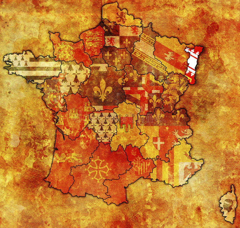 Alsace. On old map of france with flags of administrative divisions vector illustration