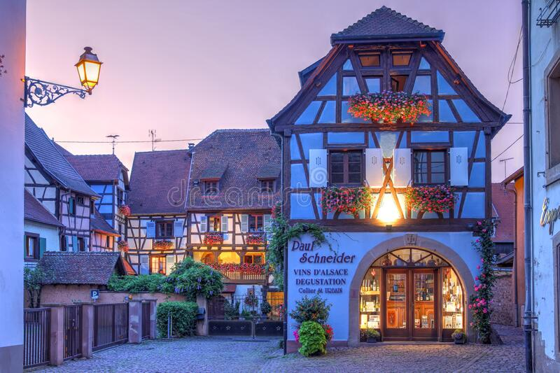Alsace house in Eguisheim, France stock images