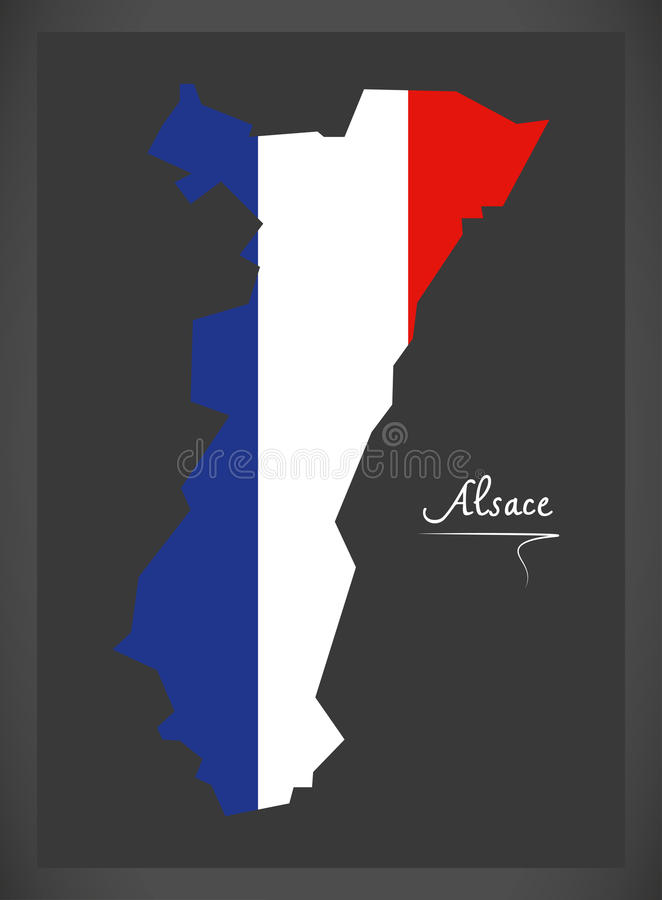 Alsace map with French national flag illustration. In artwork style vector illustration