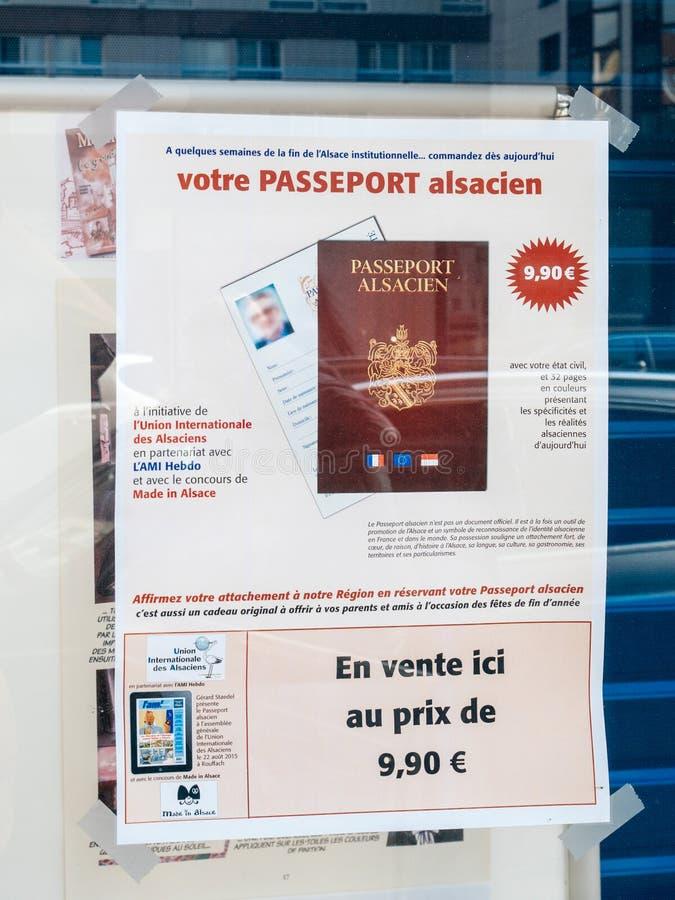 Alsacian paszport dla sprzedaży w Strasburg fotografia royalty free