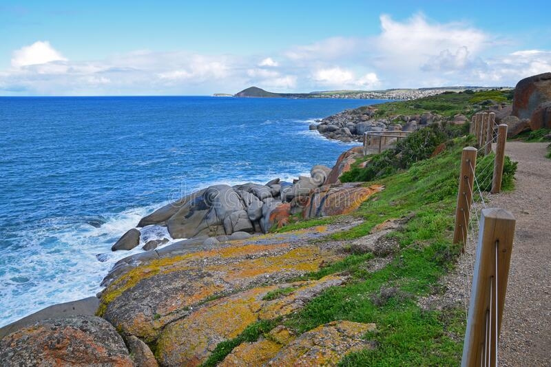 Shores with large boulders & rocks on Granite Island, Victor Harbor, South Australia looking at Great Australian Bight. Also known by the Ramindjeri people as stock photos