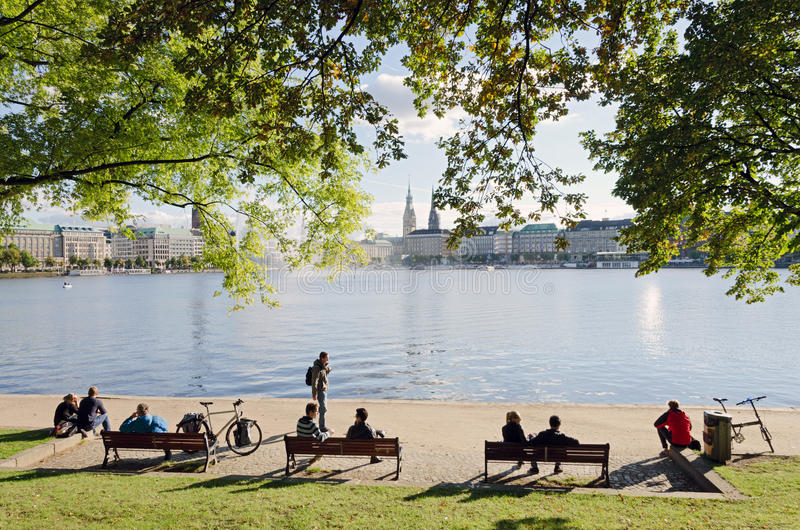Download Alster Lakeside editorial photography. Image of bench - 34289892