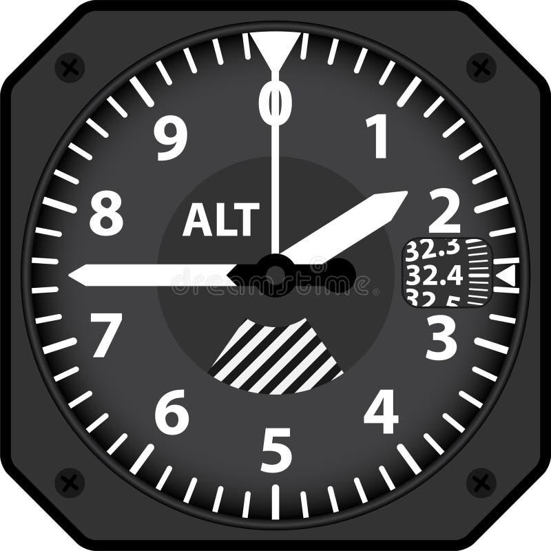 Altímetro de los aviones stock de ilustración