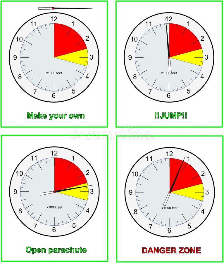 Altímetros de Skydive stock de ilustración