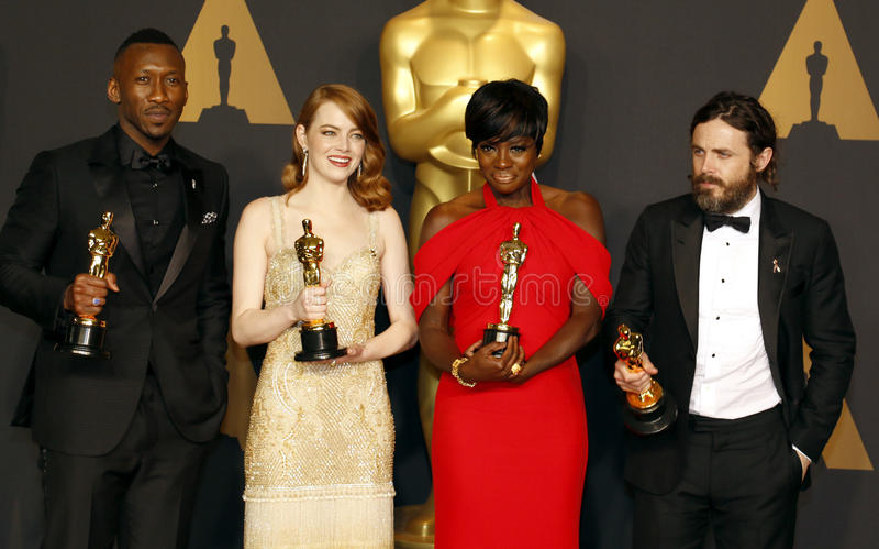 Altówka Davis, Casey Affleck, Mahershala Ali i Emma kamień, zdjęcie stock