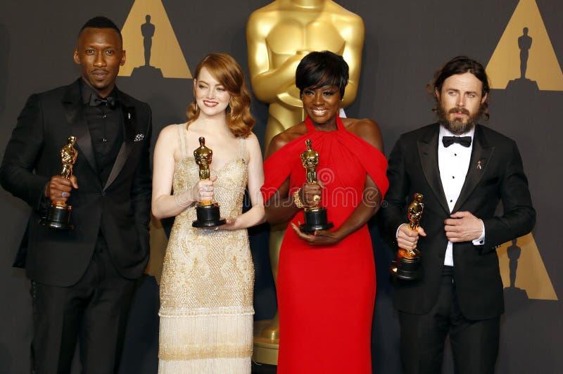 Altówka Davis, Casey Affleck, Mahershala Ali i Emma kamień, zdjęcia royalty free