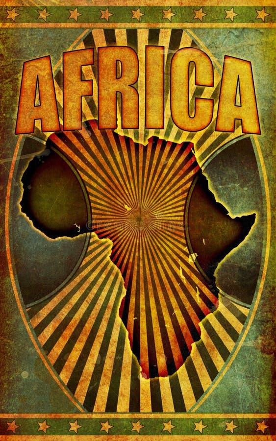 Alt, Grunge Retro- Afrika Plakat-Abbildung lizenzfreie abbildung
