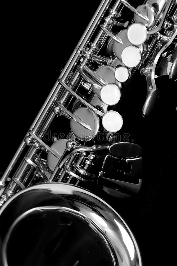 Alt saxophone. An Alt saxophone in black and white stock image
