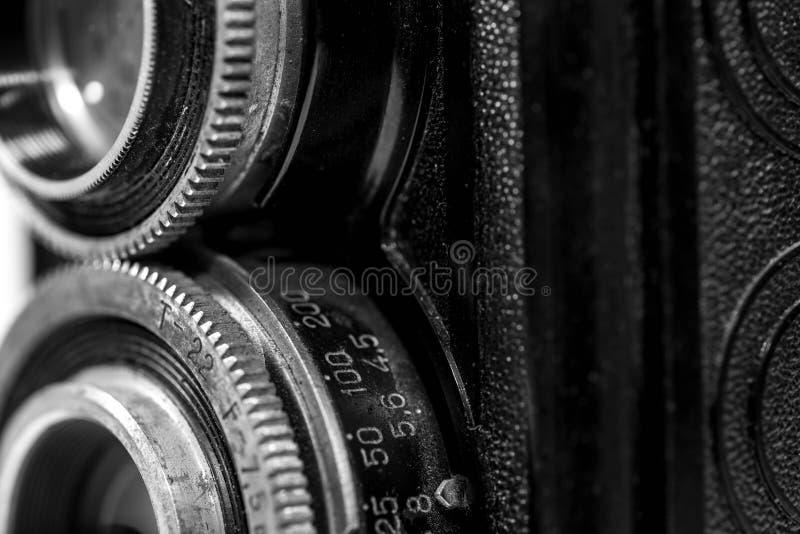 Alt, staubig, Weinlese Retro- sowjetische Kamera 120 Millimeter-Filmes von den sechziger Jahren lizenzfreie stockfotografie
