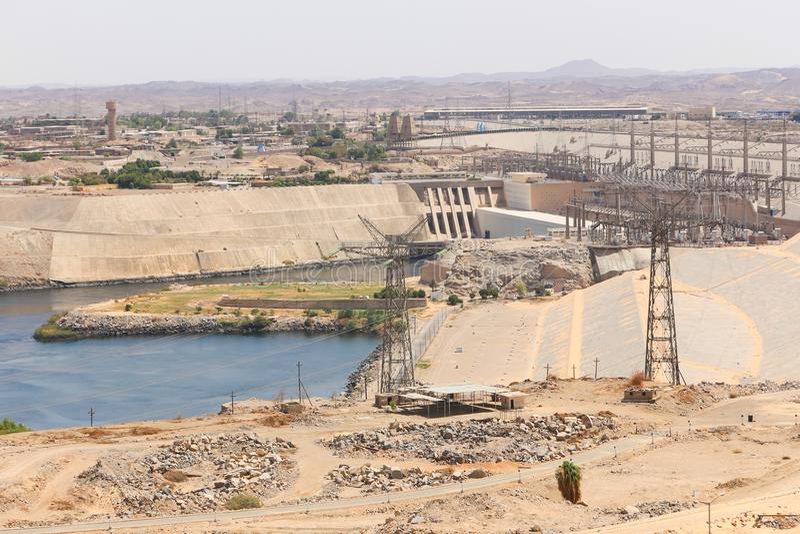 Alta diga a Assuan - l'Egitto fotografia stock libera da diritti