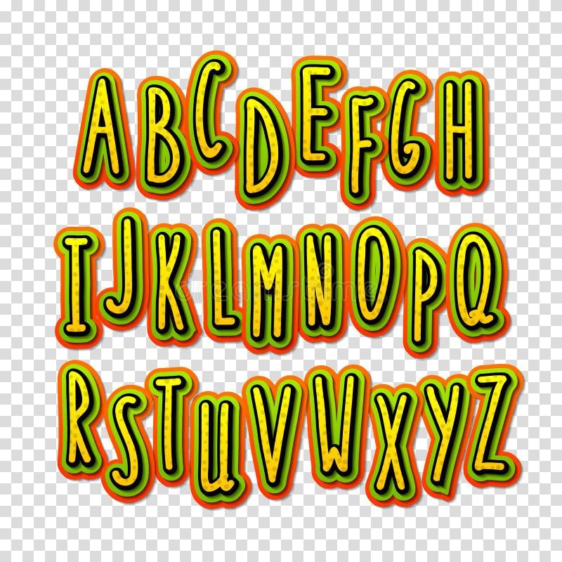Alta fuente creativa del detalle El alfabeto en el estilo de los tebeos ilustración del vector