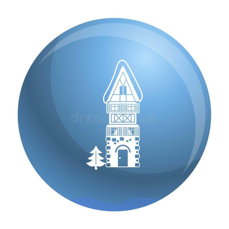 Alta icona della casa della pietra, stile semplice illustrazione di stock