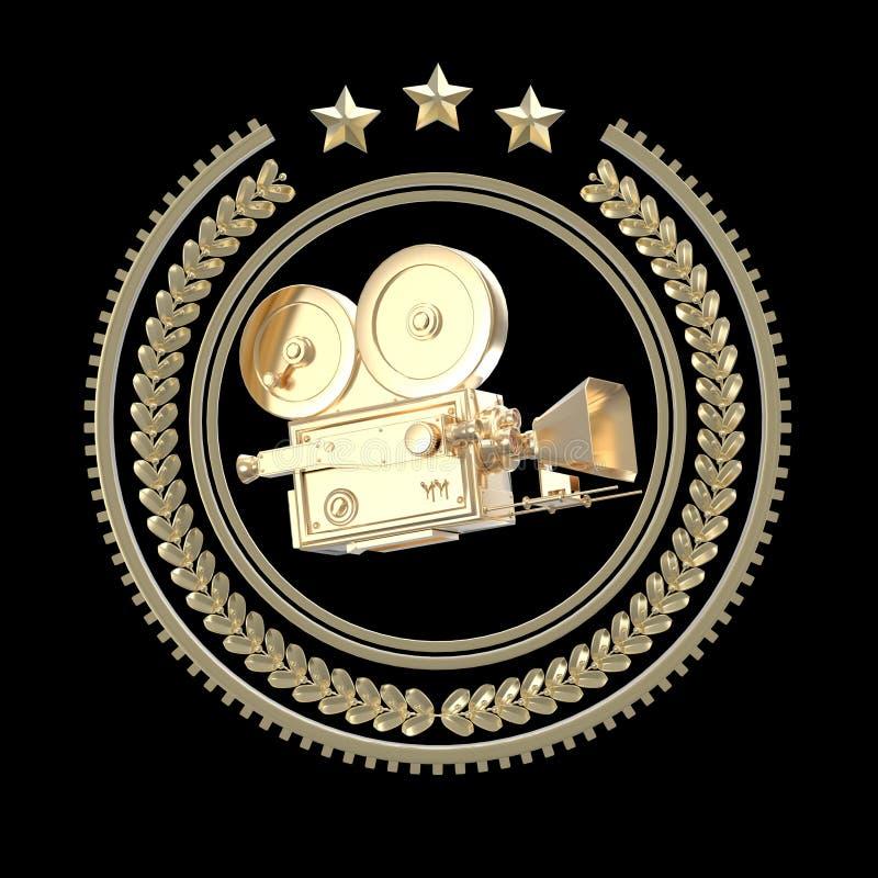 Alta icona dorata d'annata dettagliata della camma di film royalty illustrazione gratis