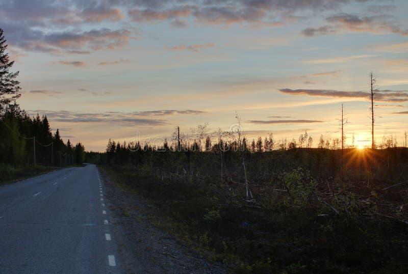 Alta immagine della gamma dinamica del tramonto in Svezia fotografia stock