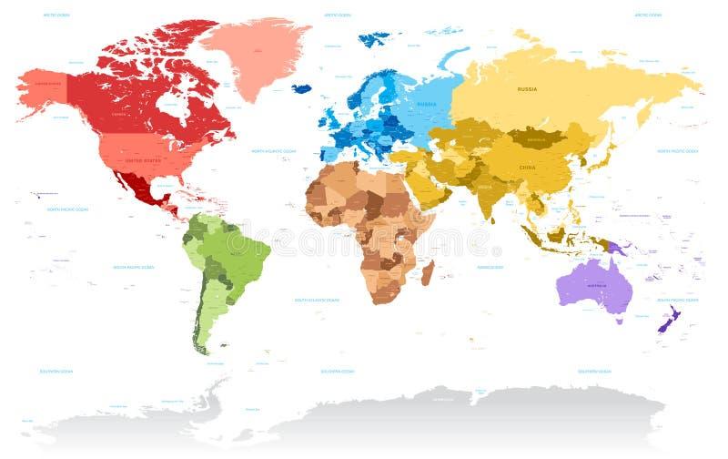 Alta mappa dei colori del dettaglio di vettore del mondo royalty illustrazione gratis