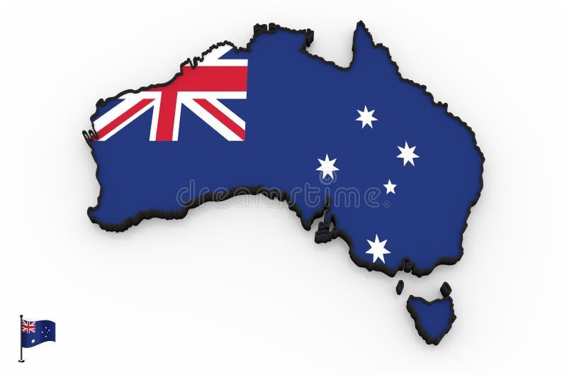 Alta mappa dettagliata 3D dell'Australia illustrazione di stock
