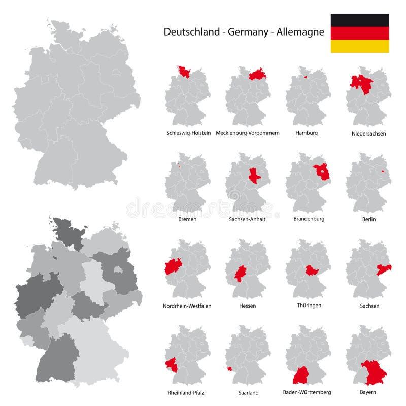 Alta mappa dettagliata della Germania con gli stati federali separati royalty illustrazione gratis