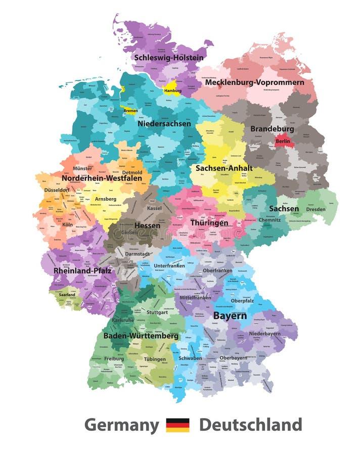 Cartina Fisica Muta Germania.Mappa Della Germania Colorata Dagli Stati E Dai Distretti Amministrativi Con Le Suddivisioni Illustrazione Vettoriale Illustrazione Di Posizione Bandierina 77771752