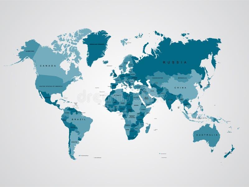 Alta mappa di mondo del dettaglio illustrazione di vettore del modello per istruzione di informazioni, notizie, cultura avveduta, royalty illustrazione gratis