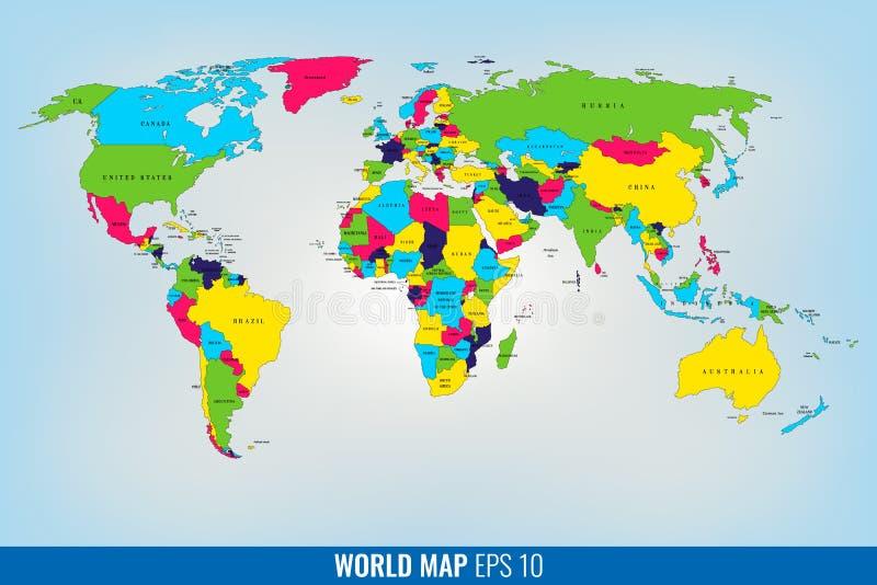 Alta mappa di mondo del dettaglio Vettore illustrazione di stock