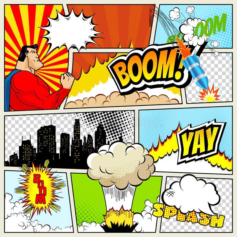 Alta maqueta del vector del detalle de la página típica del cómic con las diversas burbujas del discurso, los símbolos y los efec stock de ilustración