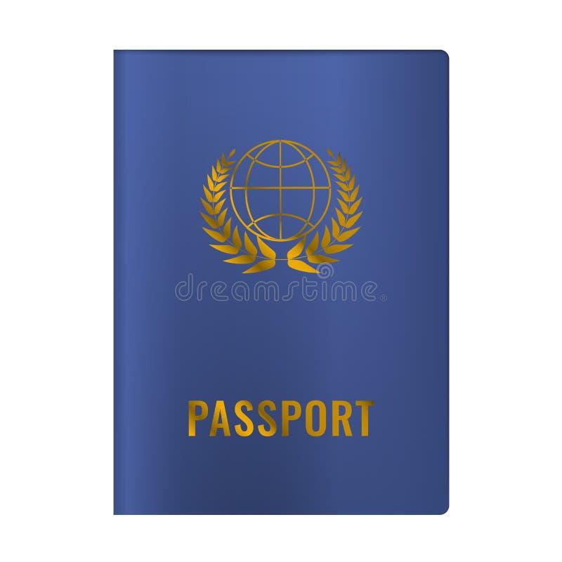 Alta mofa detallada realista del pasaporte para arriba Ilustraci?n del vector Color azul stock de ilustración
