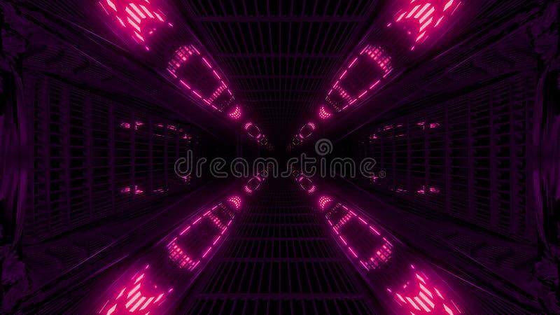Alta rappresentazione riflettente d'ardore del fondo 3d del tunnel dello spazio della galassia del abstact royalty illustrazione gratis