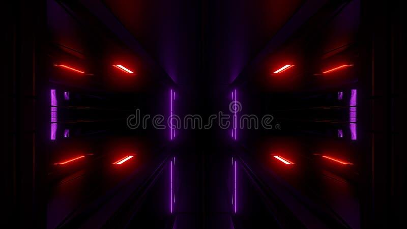 Alta representación reflexiva del papel pintado 3d del túnel del scifi ilustración del vector