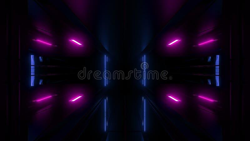 Alta representación reflexiva del papel pintado 3d del túnel del scifi libre illustration
