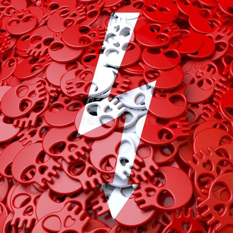 Alta tensão do sinal de aviso, branco, crânios vermelhos ilustração do vetor