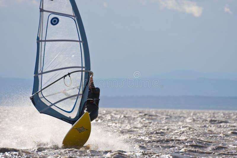 Alta velocidade do windsurfe fotografia de stock