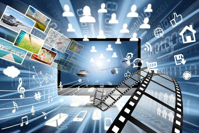 Alta velocità delle multimedia che dividono concetto illustrazione di stock