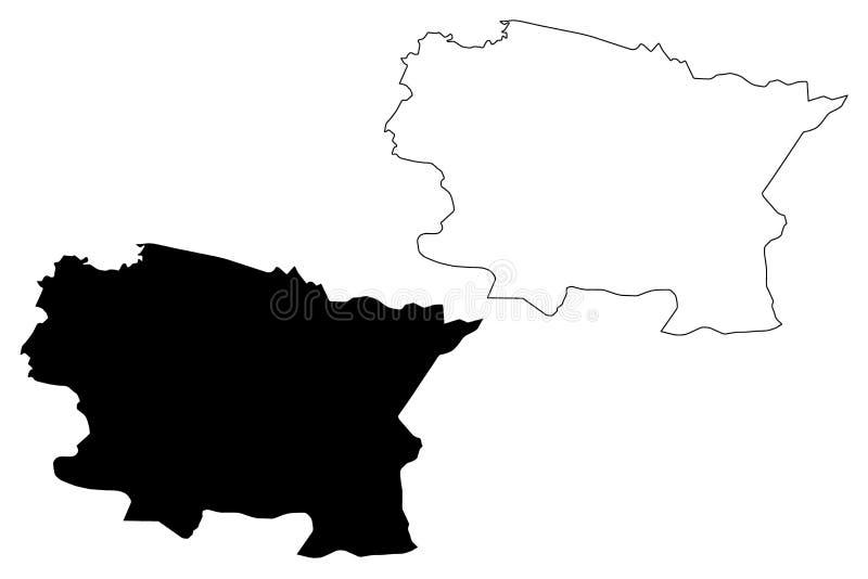 Alta Verapaz Department Republic av Guatemala, avdelningar av illustrationen för den Guatemala översiktsvektorn, klottrar skissar vektor illustrationer
