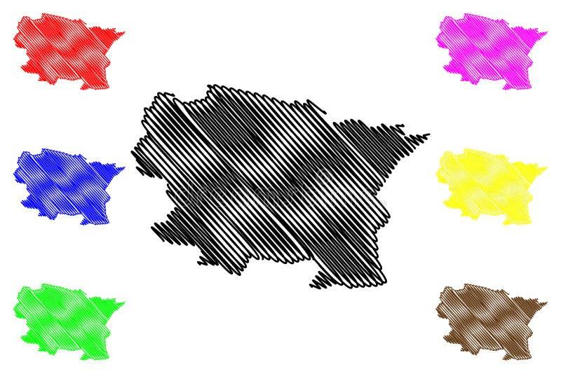 Alta Verapaz Department Republic av Guatemala, avdelningar av illustrationen för den Guatemala översiktsvektorn, klottrar skissar stock illustrationer