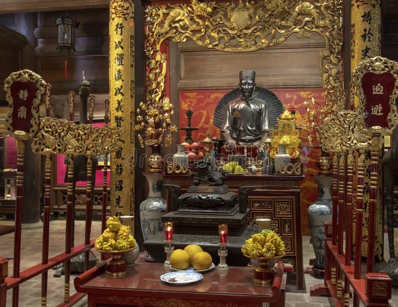 Altaar aan Chu Văn, rector van de keizeracademie stock fotografie
