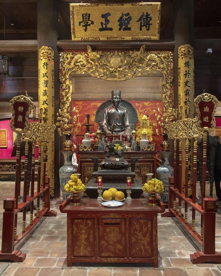 Altaar aan Chu Văn, rector van de keizeracademie stock foto's